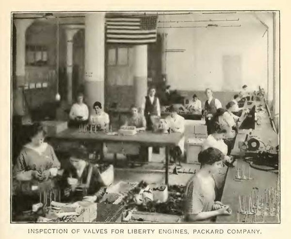 INSPECTION OF VALVES FOR LIBERTY ENGINES, PACKARD COMPANY.