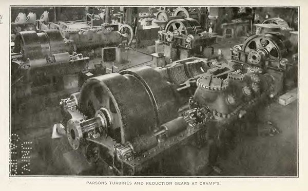 PARSONS TURBINES AND REDUCTION GEARS AT CRAMP'S.