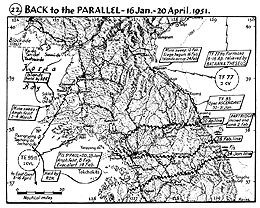Map 22. Back to the Parallel, 16 January–20 April 1951.