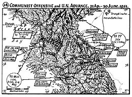 Map 24. Communist Offensive and U.N. Advance, 21 April–30 June 1951.
