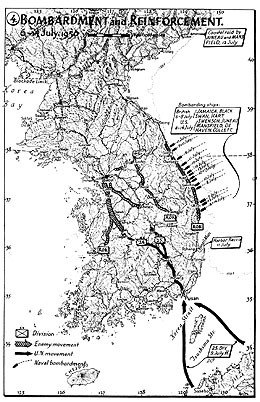 Map 4. Bombardment and Reinforcement, 6–14 July 1950.
