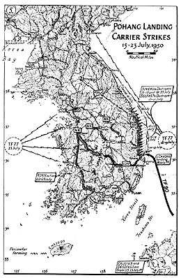 Map 5. Pohang Landing Carrier Strikes, 15–23 July 1950.