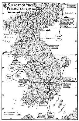 Map 9. Support of the Perimeter, 14–24 August 1950.
