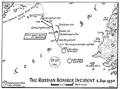Map 11. The Russian Bomber Incident, 4 September 1950.