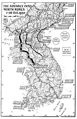 Map 15. The Advance into North Korea, 1–26 October 1950.