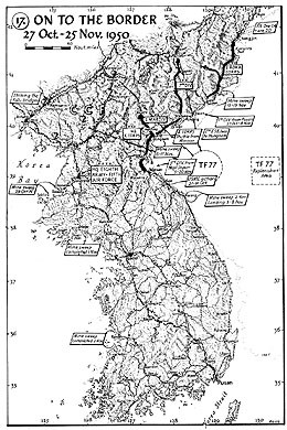 Map 17. On to the Border, 27 October–25 November 1950.