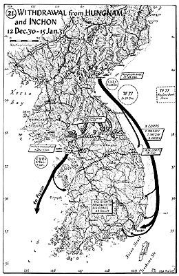 Map 21. Withdrawal from Hungnam and Inchon, 12 December 1950–15 January 1951.