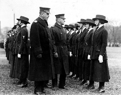 Yeomen (F), Being inspected by Rear Admiral Victor Blue (left center), Chief of the Bureau of Navigation, on the Washington Monument grounds, Washington, D.C., in 1918