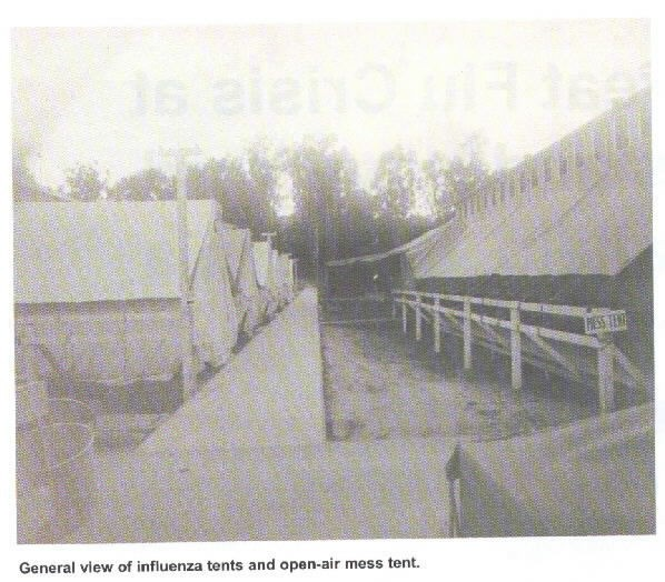 General view of influenza tents and open-air mess tent, BUMED Archives.