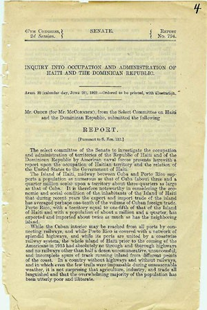 Title page to Inquiry into Occupation and Administration of Haiti and the Dominican Republic
