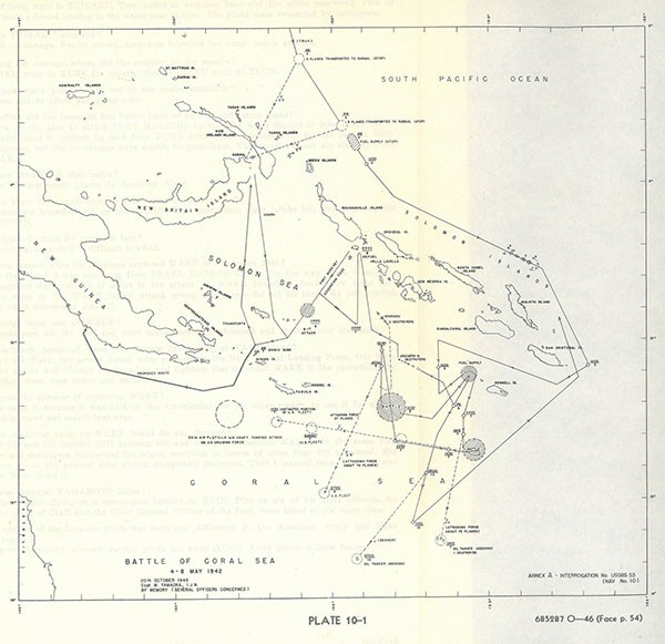 Plate 10-1: Map of the Battle of Coral Sea.