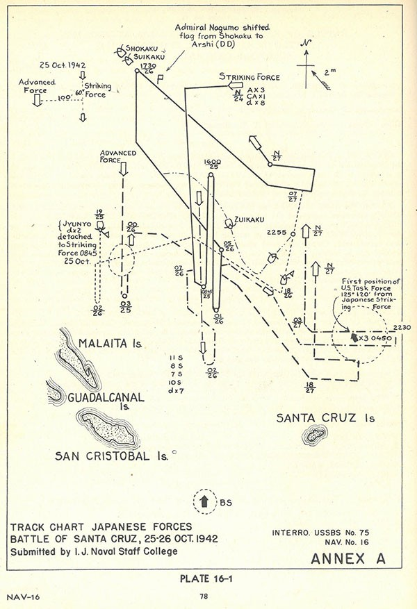 Plate 16-1: Track Chart Japanese Forces, Battle of Santa Cruz, 25-26 Oct 1942.