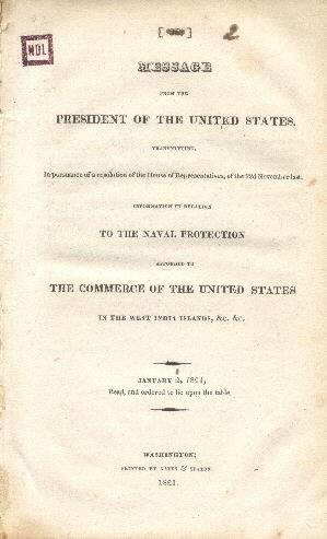 Information in Relation to the Naval Protection Afforded to The Commerce of the United States in the West India Islands, &c. &c. Cover Page