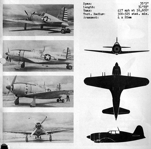 Four images and three silhouettes of JACK 21 Navy Interceptor Fighter with dimensions.