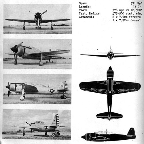 Four images and three silhouettes of JUDY 33 Navy Dive Bomber with dimensions.