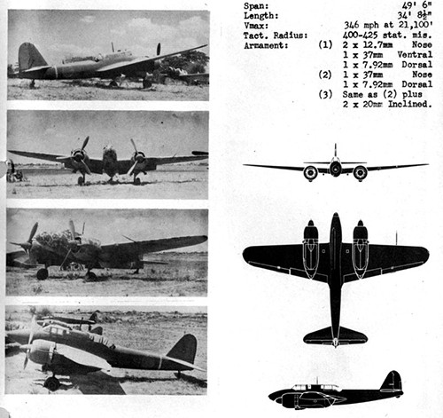 Four images and three silhouettes of NICK I Army Heavy Fighter with dimensions.
