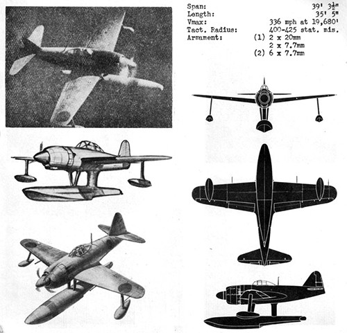 One image, two line drawings and three silhouettes of REX II Navy Fighter Seaplane with dimensions.