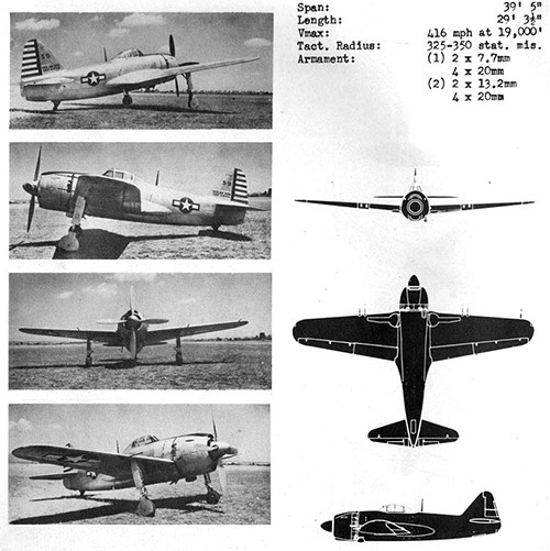 Four images and three silhouettes of GEORGE II Navy Interceptor Fighter with dimensions.