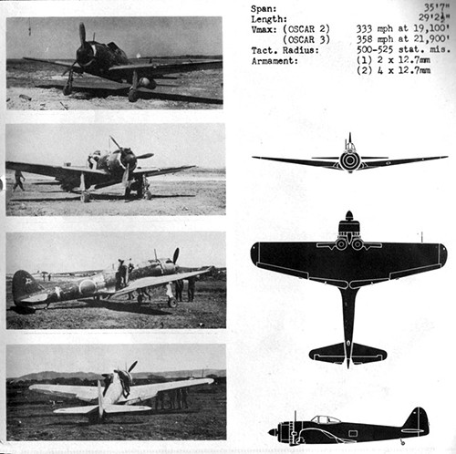 Four images and three silhouettes of OSCAR 2 & 3 Army Fighter with dimensions.