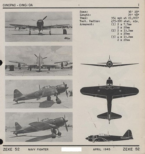 Four images and three silhouettes of ZEKE 52 Navy Fighter with dimensions listed.