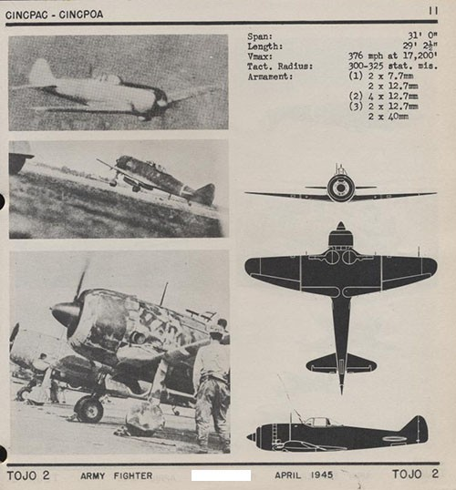 Three images and three silhouettes of TOJO 2 Army Fighter with dimensions.