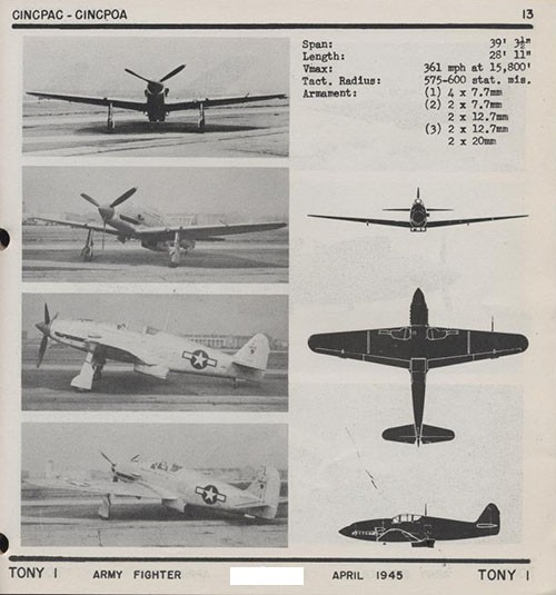 Four images and three silhouettes of TONY 1 Army Fighter with dimensions.
