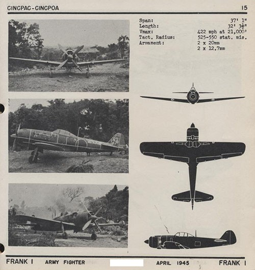 Three images and three silhouettes of FRANK 1 Army Fighter with dimensions.