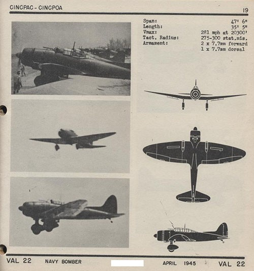 Three images and three silhouettes of VAL 22 Navy Bomber with dimensions.