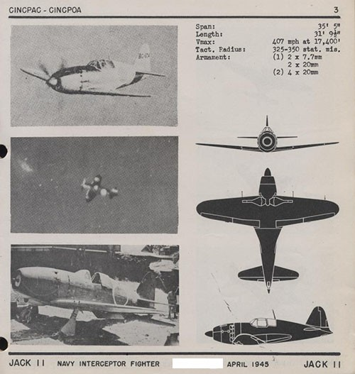 Three images and three silhouettes of JACK II Navy Interceptor Fighter with dimensions.