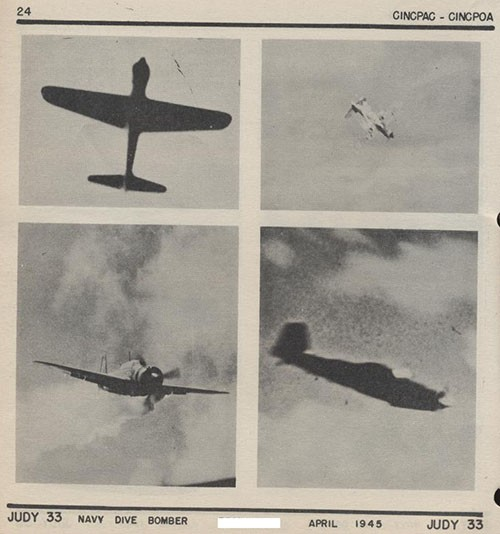 Four images of JUDY 33 Navy Dive Bomber.