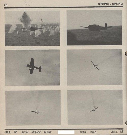 Six images of JILL 12 Navy Attack Plane.