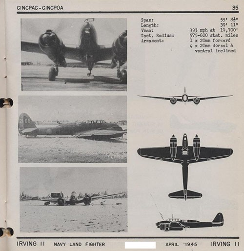 Three images and three silhouettes of IRVING 11 Navy Land Fighter with dimensions.