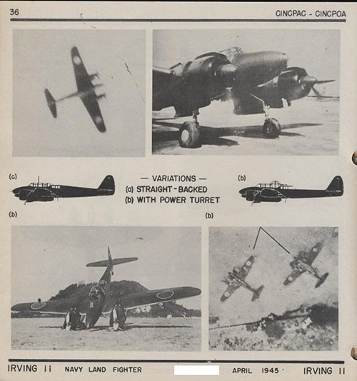 Four images and two silhouettes of IRVING 11 Navy Land Fighter.