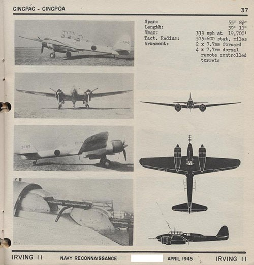 Four images and three silhouettes of IRVING 11 Navy Reconnaissance with dimensions.