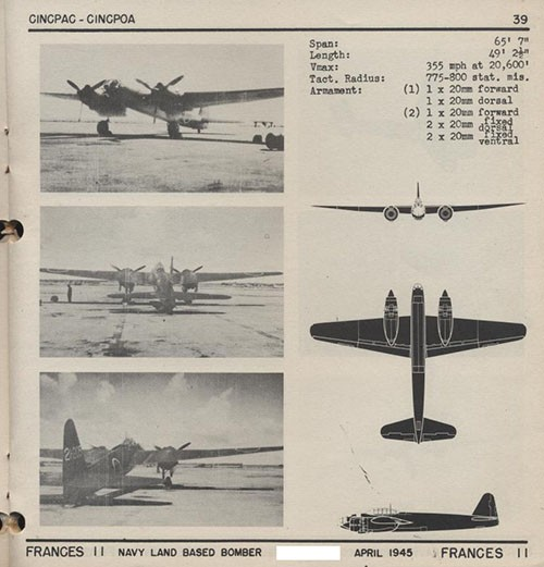Three images and three silhouettes of FRANCES 11 Navy Land Based Bomber with dimensions.