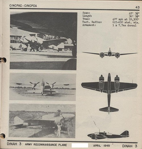Three images and three silhouettes of DINAH 3 Army Reconnaissance Plane with dimensions.