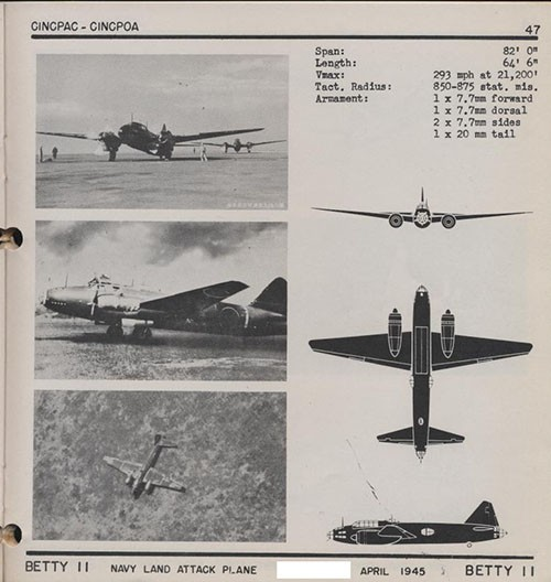 Three images and three silhouettes of BETTY II Navy Land Attack Plane with dimensions.