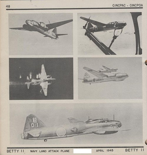 Five images of BETTY II Navy Land Attack Plane.