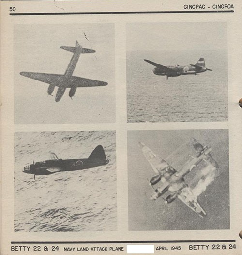 Four images of BETTY 22 & 24 Navy Land Attack Plane.