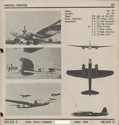 Three images and three silhouettes of HELEN 2 Army Heavy Bomber with dimensions.