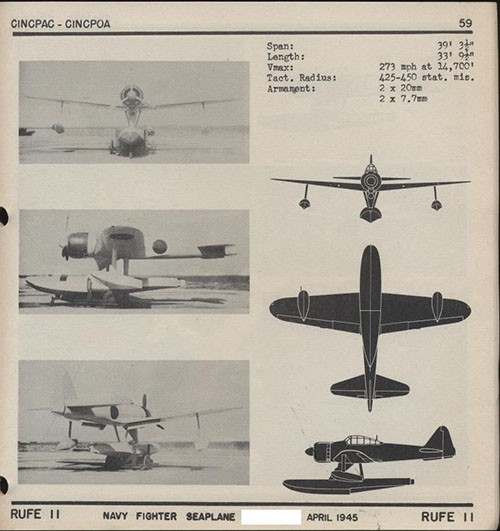 Three images and three silhouettes of RUFE II Navy Fighter Seaplane with dimensions.