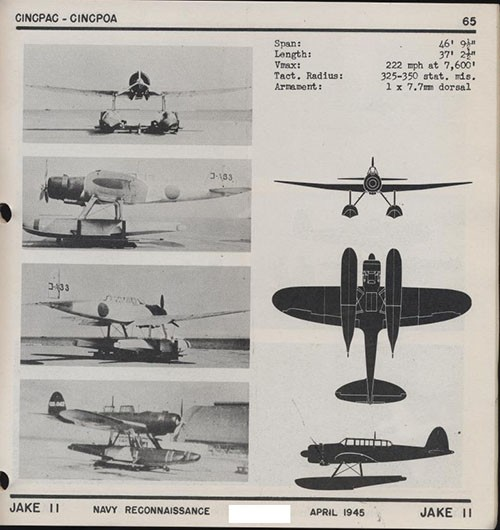 Four images and three silhouettes of JAKE II Navy Reconnaissance with dimensions.