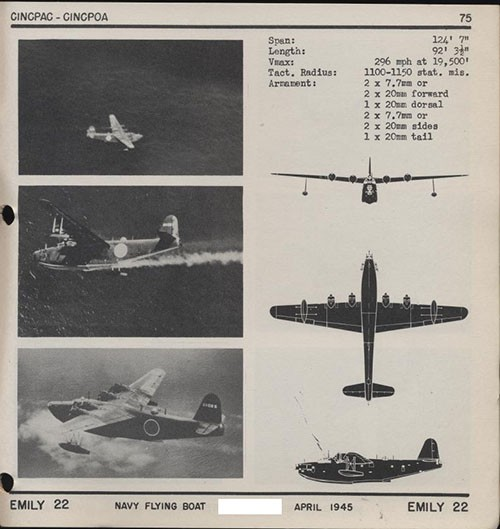 Three images and three silhouettes of EMILY 22 Navy Flying Boat with dimensions.
