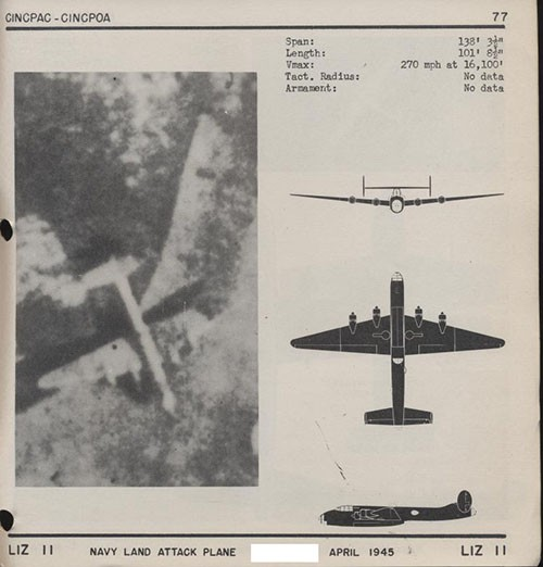 One image and three silhouettes of LIZ II Navy Land Attack Plane with dimensions.