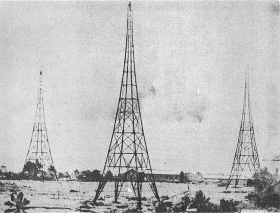 Three lattice-type towers.