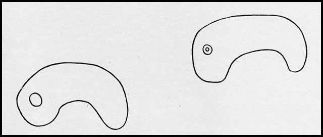Fig. 2 - Curved jewels (magatama) from a sepulchral mound. (After Sansom.)