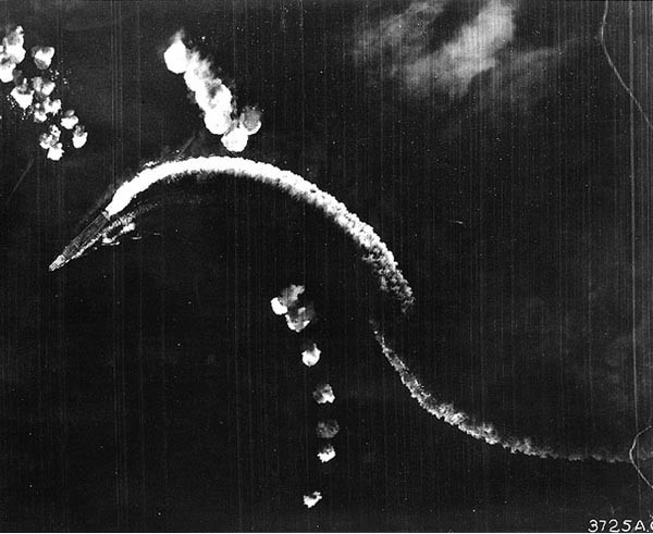 Akagi in an early phase of the Battle of Midway.