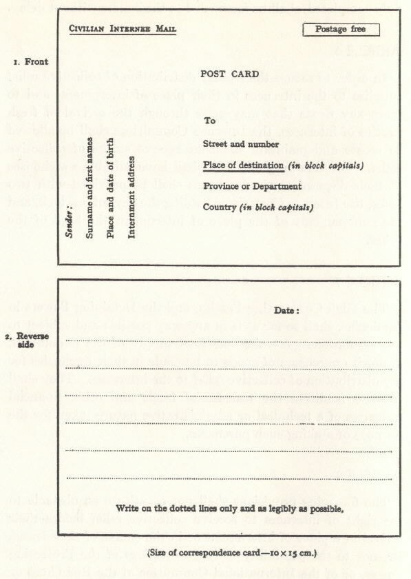 Image of correspondence card - text below image.