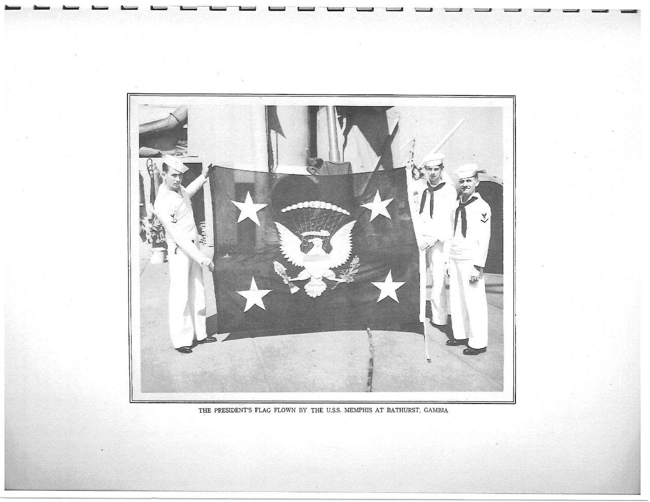 President's flag flown by the USS Memphis at Bathurst, Gambia