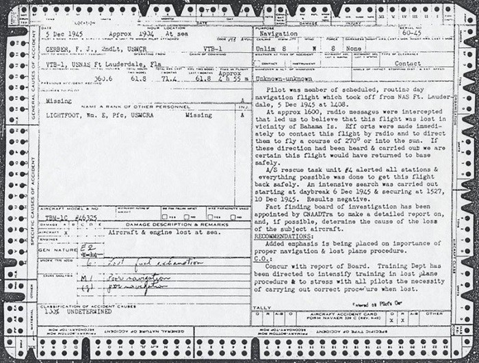 Image of Lieutenant F. J. Gerber, USMCR - Official Accident Report